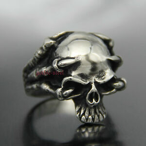 4504414f6c4c Vintage Men s Goth Punk Stainless Steel Dragon Claw Skull Ring ...