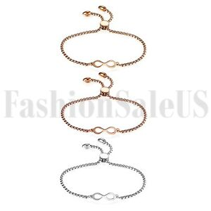 Women-039-s-Ladies-Stainless-Steel-Charm-Love-Infinity-Chain-Promise-Bracelet-Bangle