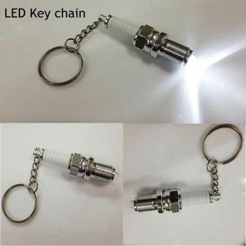 Creative Collectibles Metal Car Tools Key Chain LED Light Keyring Spark Plug