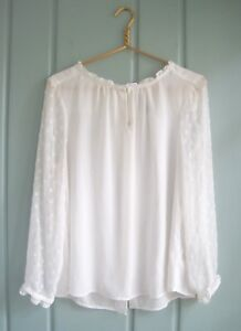 Anthropologie-HD-in-Paris-Womens-12-Large-White-Career-Keyhole-Swiss-Dot-Blouse