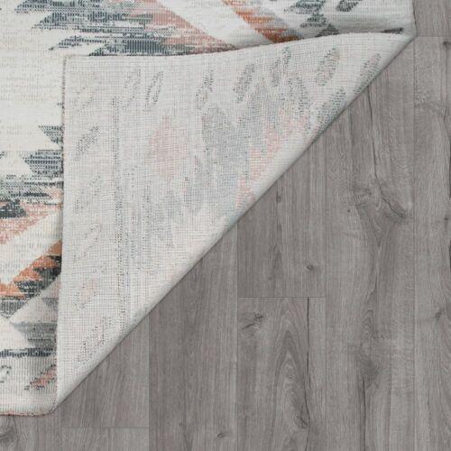 Ethno-Muster In Grau Teppich Used-Look Flachgewebe Für Wohnzimmer Bordüre