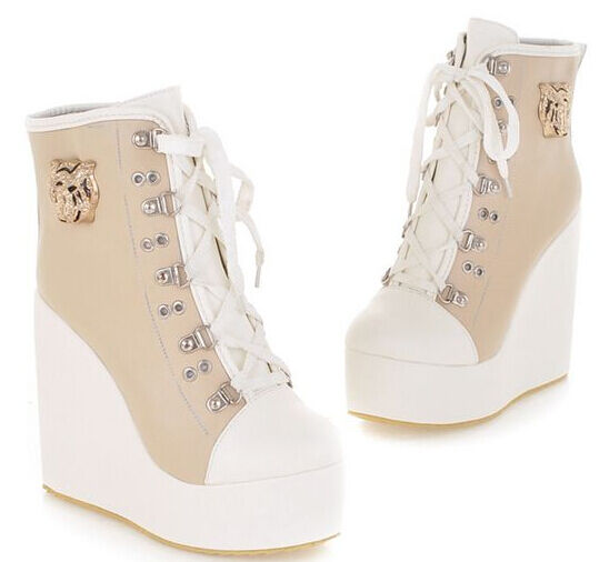 Boots women's shoes laces wedge 12 cm like leather comfortable sports beige 9133