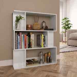 vidaXL-Book-Cabinet-Room-Divider-High-Gloss-White-Chipboard-Standing-Shelves
