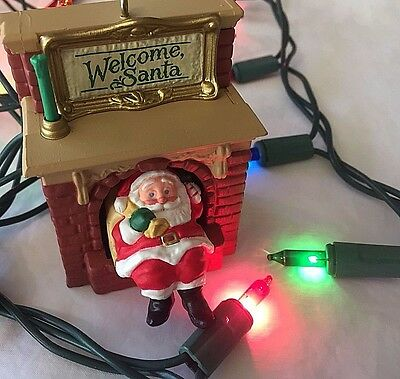 Hallmark Christmas Ornament Welcome Santa Moves In and Out Fireplace Ken Crow 90