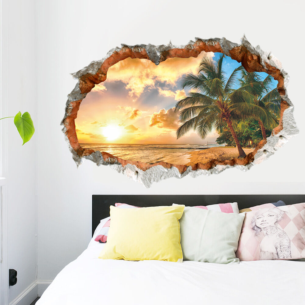3d elegant beach wall sticker decal art decor vinyl home for Decor mural 3d