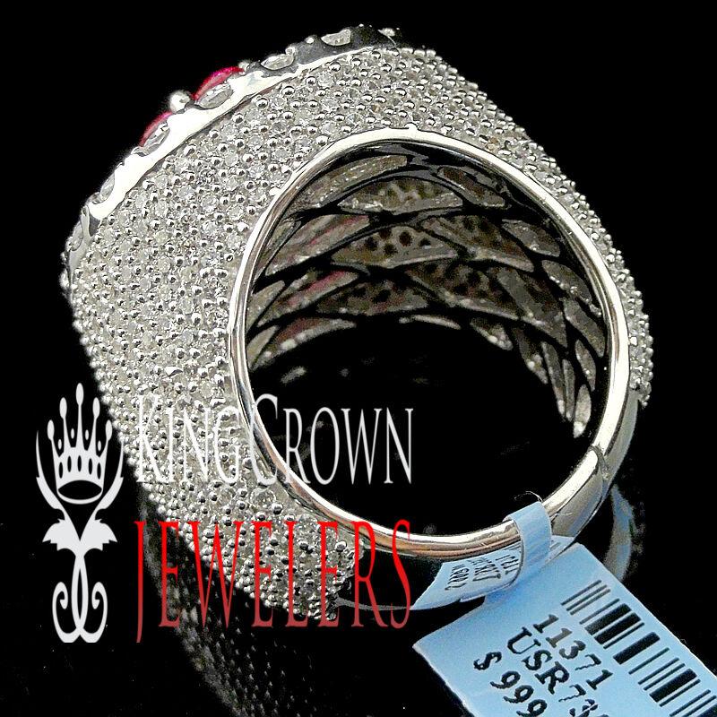 Vero Bianco oro argentoo da da da Uomo Big rosa Zircone Diamante Sintetico Grande XXL ae3092