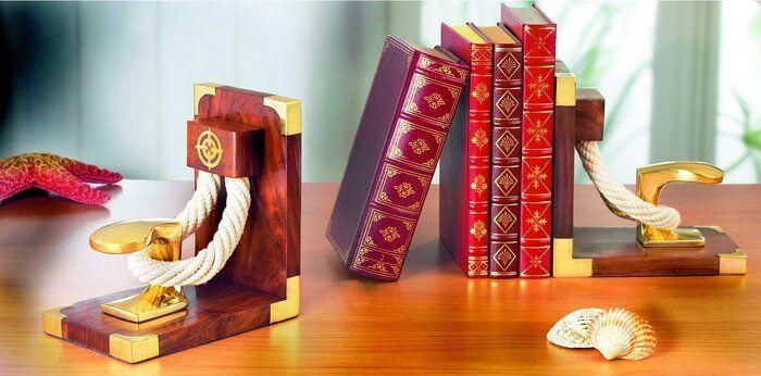 Maritime Buchstütze Poller Deko Dekorativ Stütze für Bücher   2er Set