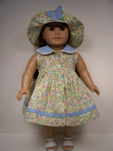 """Debs 2pc YELLOW Floral Butterfly Dress Hat Doll Clothes For 18/"""" American Girl"""