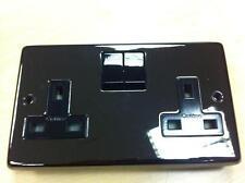 Eurolite Black Nickel 13Amp Double Plug Socket