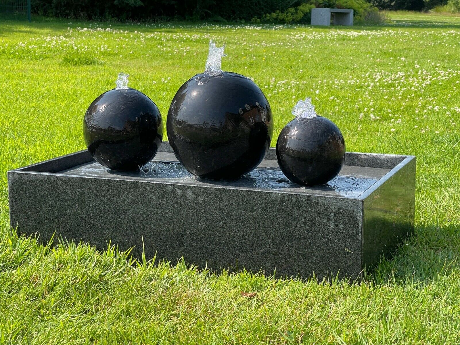 Solid granite water spheres - self contained with own granite reservoir