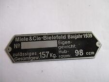 Schild Typenschild id plate Miele BIELEFELD 98 ccm Moped s25 geätzt 1939