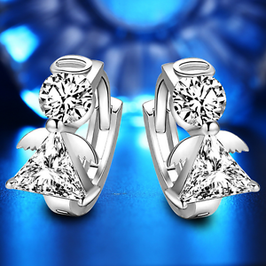 925 Plaqué Argent Charme Femmes Elegant Angel Ailes Cristal Transparent oreille Hoop Boucle d/'oreille