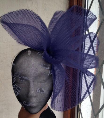 Bleu marine s Millinery Burlesque Mariage Chapeau Ascot Course Bridal British 1