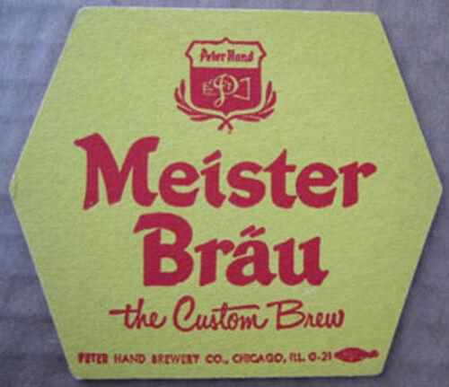 Chicago ILLINOIS MEISTER BRAU BEER Custom Brew COASTER Mat Peter Hand Brewing