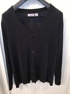 Chicos-Travelers-Womens-Jacket-Long-Sleeve-Black-Tie-Close-Size-2-L-Slinky-USA