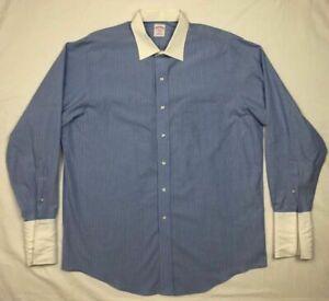 Brooks-Brothers-346-Mens-Blue-Striped-L-S-Button-Down-Dress-Shirt-Sz-16-1-2-B5