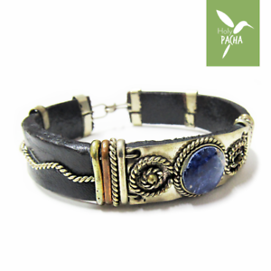 Ethnic Lapis lazuli filigree bracelet