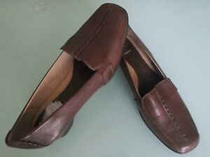 Clarks-K-Women-Size-5-5-Brown-Leather-Wedge-Shoes
