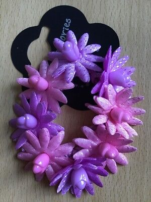 A Pretty Purple Bead And Flower Scrunchie//Ponytail Band//Hair Bobble