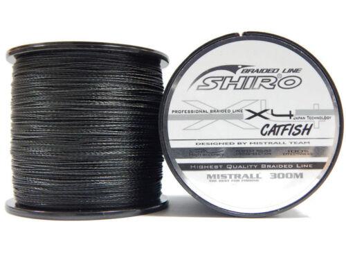 Shiro Dyneema Braid 300 m Catfish X4 Black Fishing Line Extra Strong Very Soft
