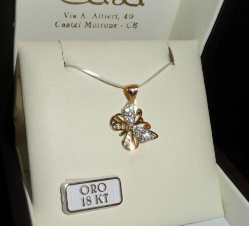 Ciondolo farfalla in oro giallo 750 18 kt e cristalli NUOVO