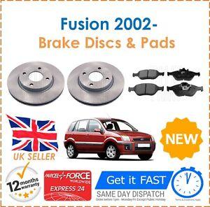 Para-Ford-Fusion-1-4-16-V-1-4-TDCi-1-6-1-6-TDCi-2002-Delantero-Discos-De-Freno-amp-Almohadillas