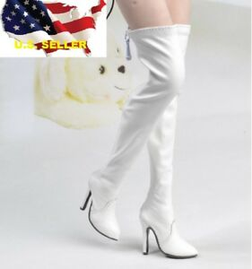 """1//6 classic white leather boots Hollow Phicen 12/"""" female figure Hot toys ❶USA❶"""