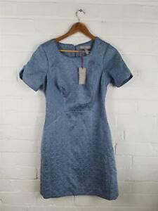 New-Pepperberry-Blue-Silver-Thread-Woven-Boucle-Sheath-Dress-UK-10-Super-Curvy