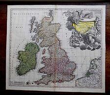 c1720 Homann Great Britain England Scotland Ireland Wales Old Antique Map UK vgc