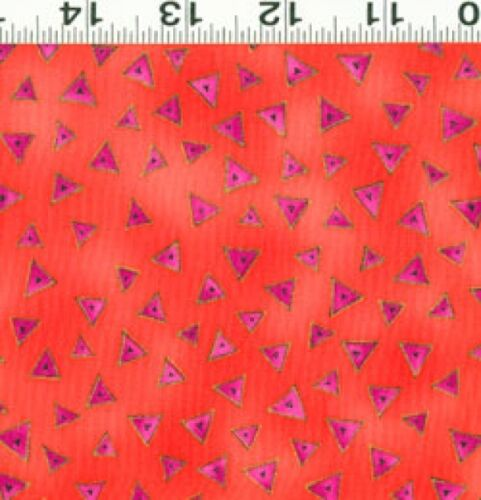 FQ Laurel Burch Basics Gold Glitter Fushia Orange Triangles Fat Quarter Fabric