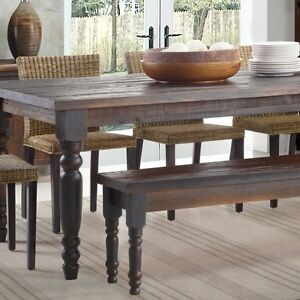 rustic wood dining table bench solid distressed look farmhouse kitchen style ebay. Black Bedroom Furniture Sets. Home Design Ideas