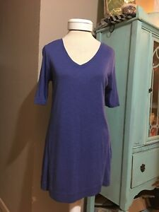 J. Jill Prima Cotton Elbow Sleeve Tunic Shirt Size XS X-small Purple