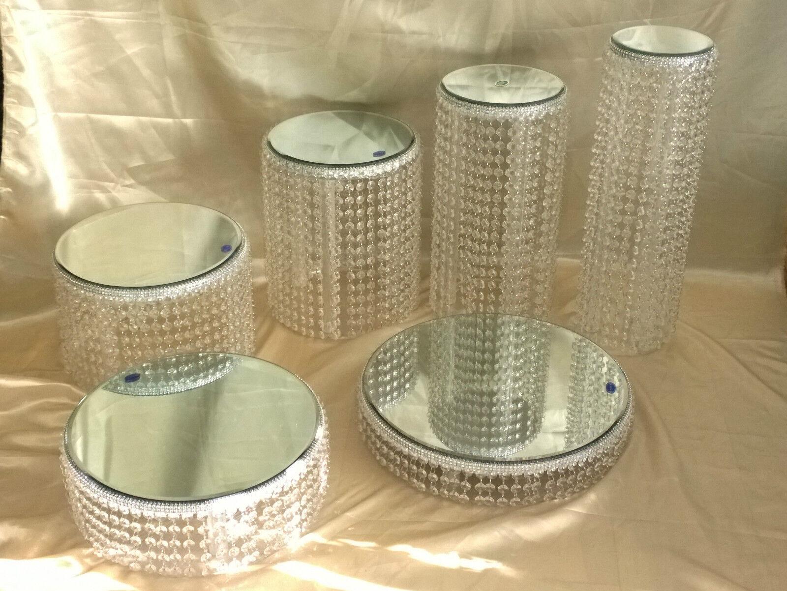 Lustre Style Véritable Verre Cristal gateau Stands Ensemble complet de 6 niveaux