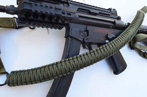 60-034-Tactical-550-Paracord-Gun-Rifle-Bow-Shotgun-Sling-1-or-2-Point-OD-GREEN