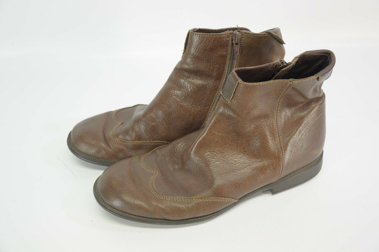 Camper braun Leather Zip Up Ankle Stiefel Rubber Sole 43 MGoldcco