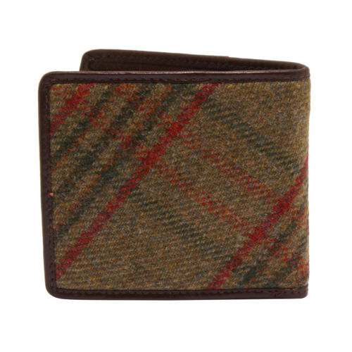 Green Islay Tweed Stag Wallet with Coin Purse and Brown Leather Trim PellMell