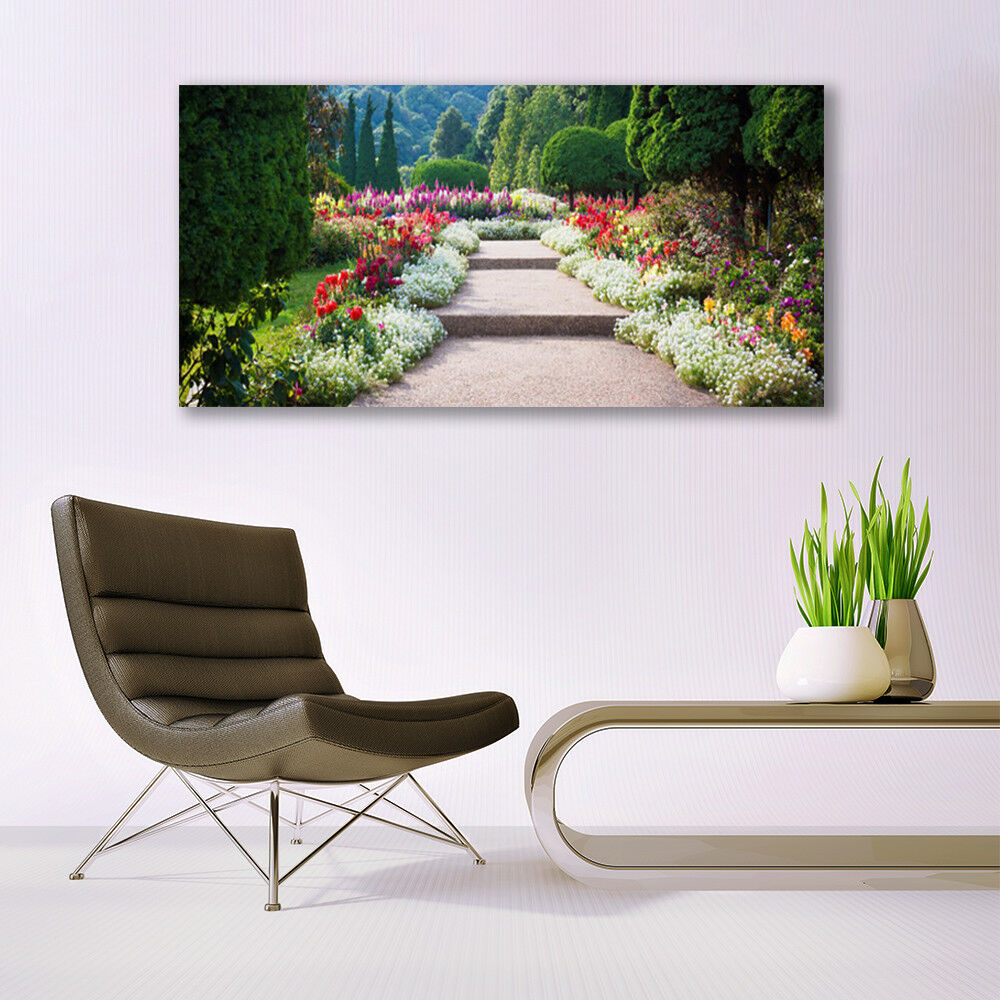 Glass print print print Wall art 140x70 Image Picture Stairs Garden Nature 16fd26