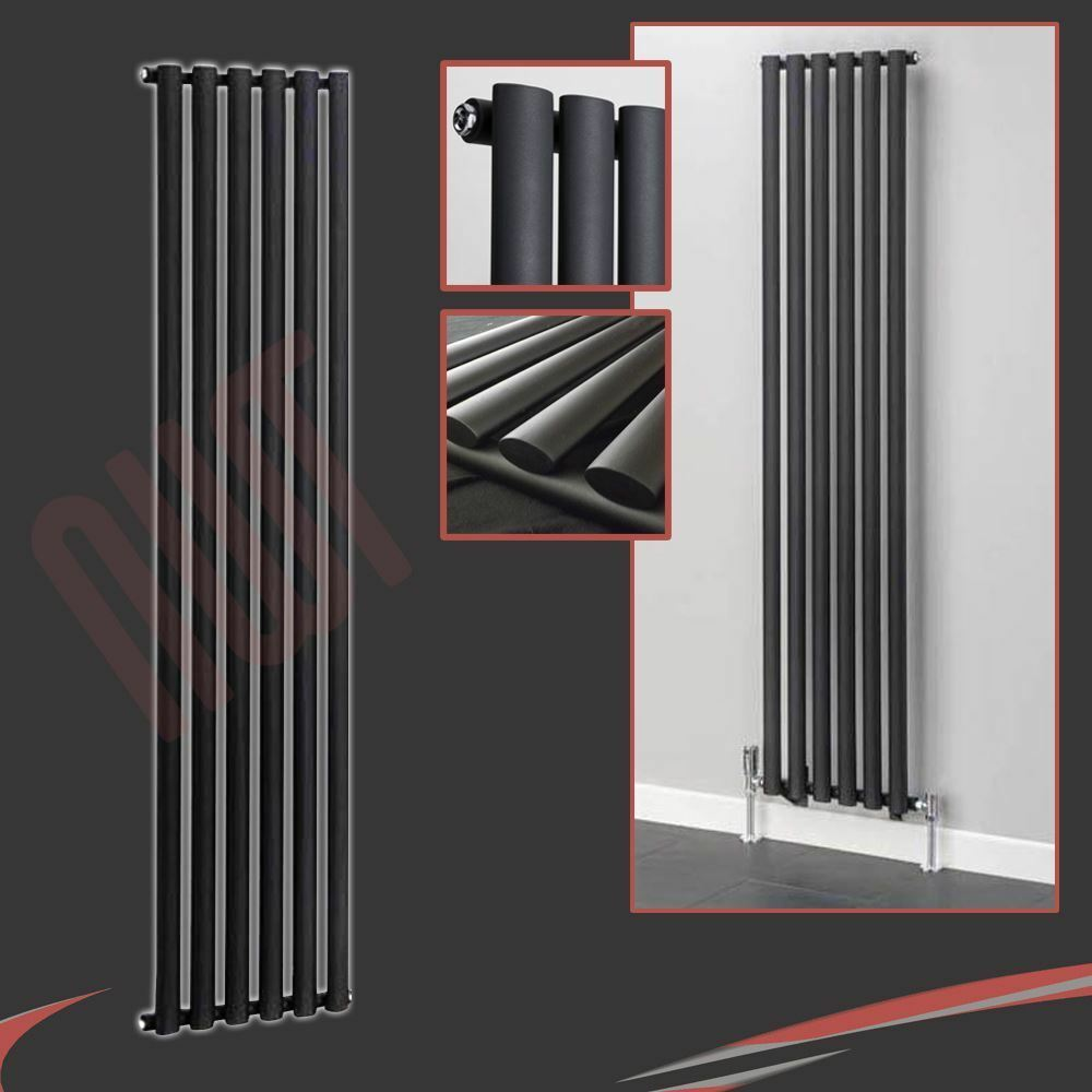 420 mm (w) x 1 800 mm (h)  BRECON  designer vertical noir radiateur 3912btu ovale tube
