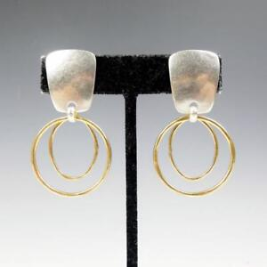 Details about Marjorie Baer Hammered Brass Tapered Rectangle with Layered  Rings Earrings