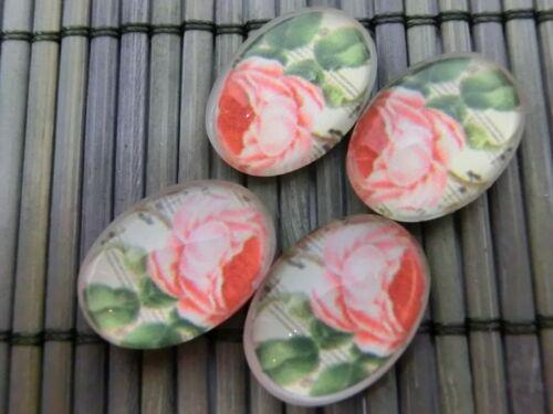 4 x Glas Cabochons 18x13mm  Blume  #10