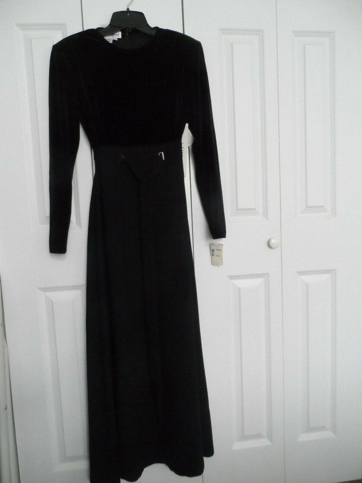 NEW Womans Größe 8 David Warren schwarz Long Sleeve Floor Length Fancy Formal Dress