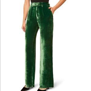 New-Reformation-Wes-High-Waist-Pants-2-SPRUCE-Green-Forest-Bottom-Velvet-RT-210