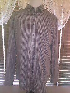 Mens-EUC-HUGO-BOSS-2XL-Brown-Beige-Check-LS-Button-Up-Shirt