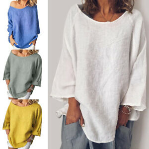 Womens-Cotton-and-linen-Baggy-Tops-Loose-Long-Sleeve-Casual-T-Shirts-Blouse