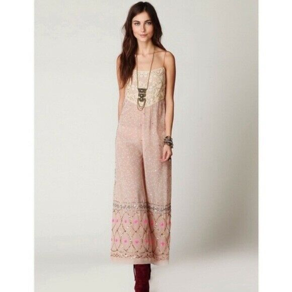 Free people whimsical wide leg jumpsuit fairycore - image 3