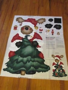 "Santa Moose 42"" tall 3D Door Decoration Cut and Sew Fabric Panel AJ100"