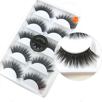 5 Pairs Luxurious 3D False Eyelashes Cross Natural Long Eye Lashes Makeup Hot