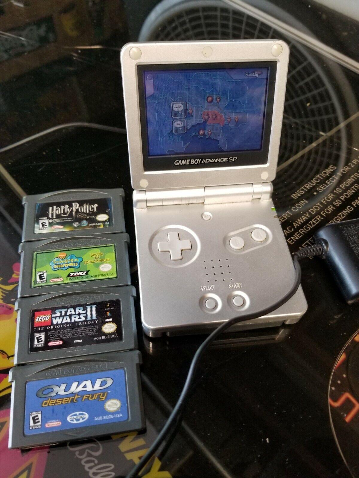 Nintendo Game Boy Advance SP Silver/Platinum Handheld System w/games on eBay thumbnail