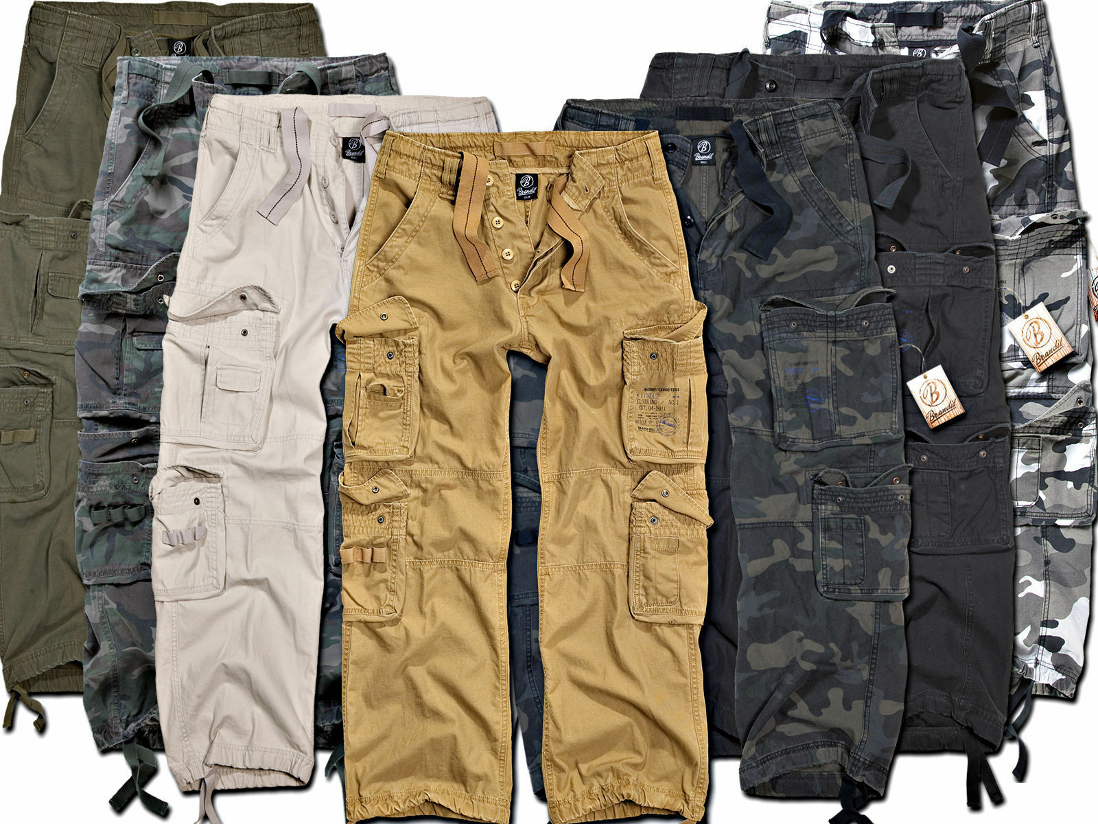 Brandit Men's Cargo Trousers Pure Vintage Army New Long