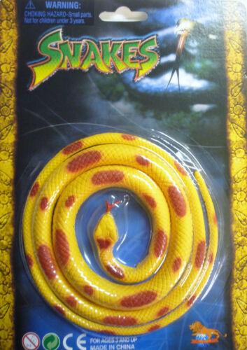 Orange ou Jaune Jouet Reptile Serpent Vert environ 96 cm long Noir